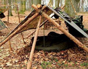 Wildnis-Survival Überlebenstraining, Knotenkunde, Notunterkunft Errichtung