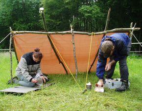 Wildnis-Wochenende Telgte Knotenkunde, Umgang mit Werkzeugen, Feuermachen