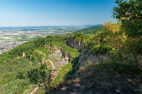 Steinbruch Schriesheim mit Blick auf die Rheinebene