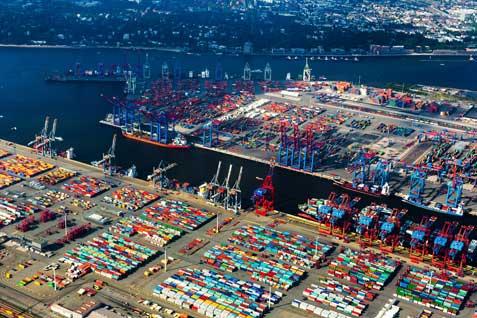 Hamburger Hafen Luftaufnahme