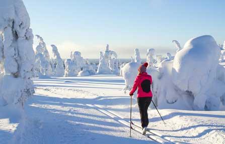 Frau auf Ski in Schneelandschaft
